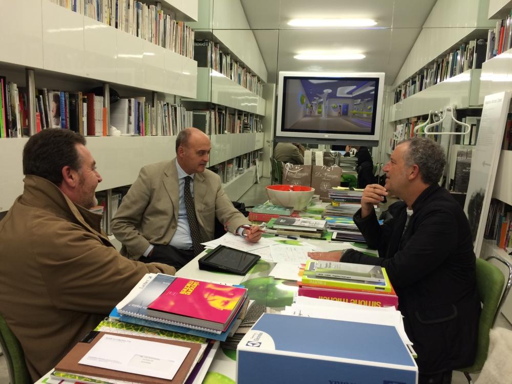 Architetto Simone Micheli, General Manager Arca srl Massimo Voglino, Responsabile Vendite Leonardo Innocenti - Meeting at Simone Micheli Studio | Firenze